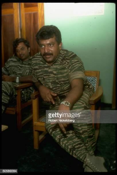 LITE Liberation Tigers of Tamil Eelam rebel ldr Velupillai Prabakaran during TIME interview in northern jungles of Sri Lanka