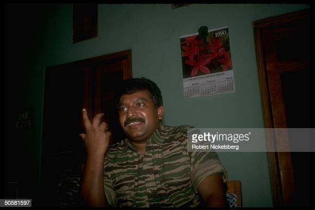 LTTE Liberation Tigers of Tamil Eelam rebel leader Velupillai Prabakaran during TIME interview in northern jungles of Sri Lanka