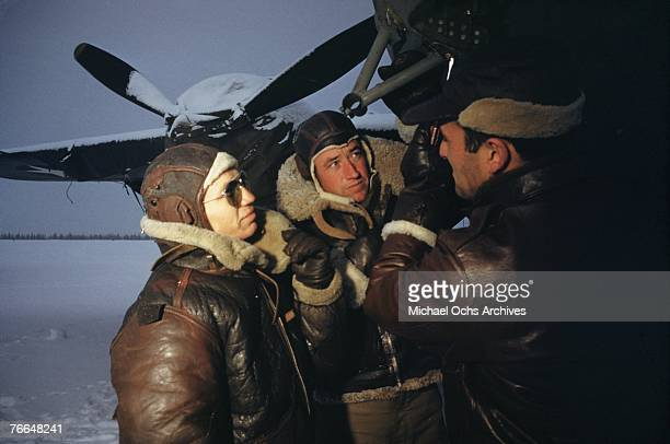 Liberator crew check their aircraft before takeoff at a United States Army Air Force base in December 1942 in Goose Bay Labrador Canada