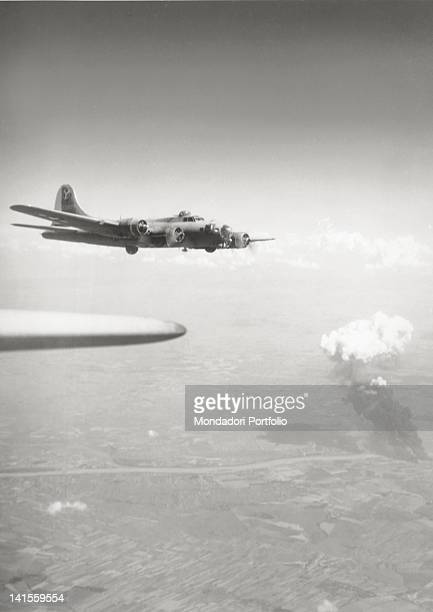 Liberator flies over the Gyor plants after bombing raids Budapest 9th August 1944