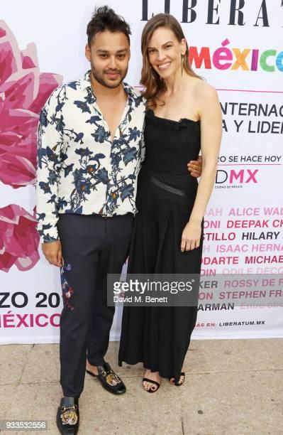 Liberatum founder Pablo Ganguli and Hilary Swank pose during day two of the Liberatum Mexico Festival 2018 at Monumento a la Revolucion on March 17...