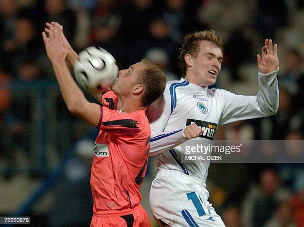 Bianco Kepa of FC Sevilla fights for a ball against Peter Singlar of Slovan Liberec during their UEFA Group C football match in Liberec city 19...