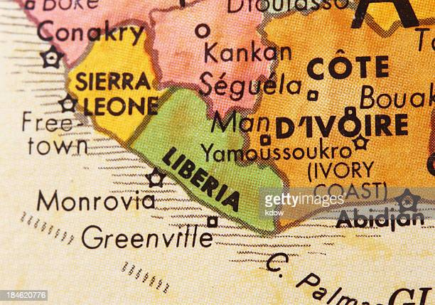 liberia on the map - liberia stock pictures, royalty-free photos & images
