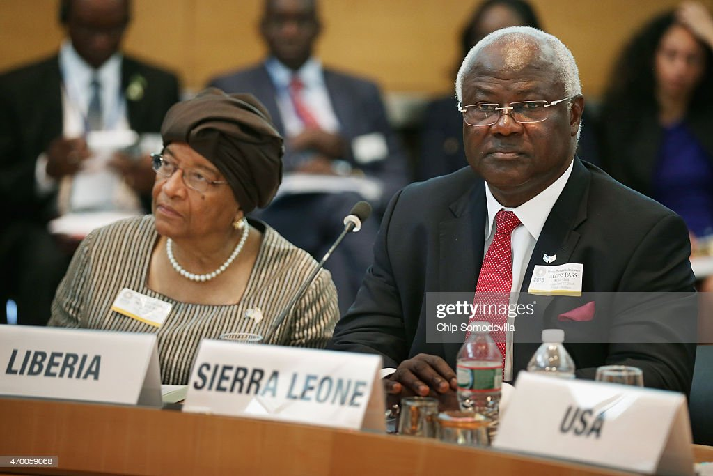 Liberia President Ellen Johnson Sirleaf (L) and Sierra Leone President Ernest Bai Koroma attend a meeting about the fight against the Ebola outbreak in West Africa during the World Bank-International Monetary Fund Spring Meetings April 17, 2015 in Washington, DC. The World Bank announced Friday that it would provide an additional US$650 million over the next year to help Guinea, Liberia and Sierra Leone to recover from the social, economic and health impact of the Ebola crisis.