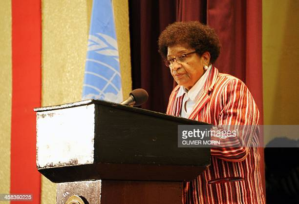 Liberia President Ellen Johnson Sirleaf speaks during a ceremony to mark the security handover from UN troops to Liberian forces on July 1 2016 in...