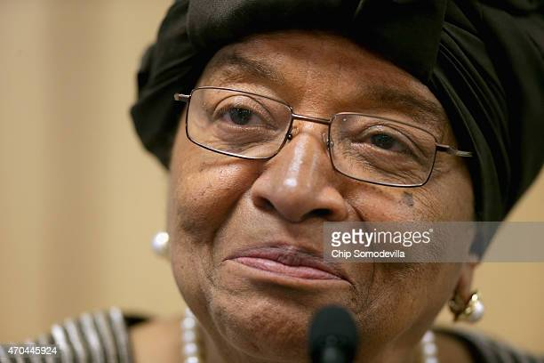 Liberia President Ellen Johnson Sirleaf speaks during a news conference about the ongoing fight against the Ebola outbreak in West Africa during the...