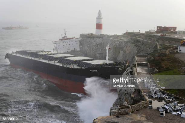 Liberian cargo ship named 'Fedra' lies broken in two parts after running aground the coast at Europa Point the previous night on October 11 2008 in...