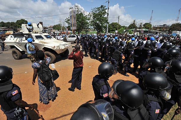 Liberian police and UN peace keeping for Pictures | Getty Images
