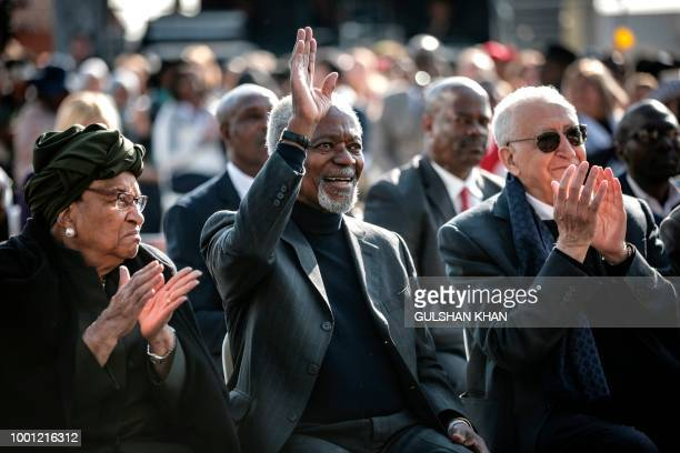 TOPSHOT Liberian politician Ellen Johnson Sirleaf former secretarygeneral of the United Nations Kofi Annan former Algerian United Nations politician...