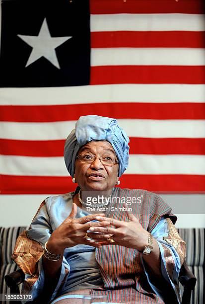 Liberian President and Nobel Peace Prize laureate Ellen Johnson Sirleaf speaks during an interview on October 11 2012 in Tokyo Japan Johnson Sirleaf...