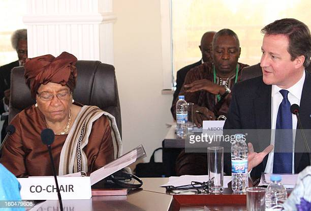 Liberian president Ellen Johnson Sirleaf and British Prime Minister David Cameron cochair a highlevel United Nations meeting on tackling global...