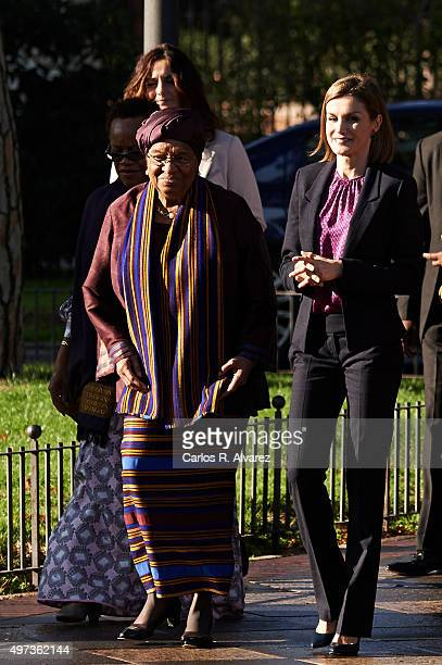 Liberian President Ellen Johnson Sirleaf and Queen Letizia of Spain attend a meeting with Mujeres Por Africa foundation at the Cecilio Rodriguez...