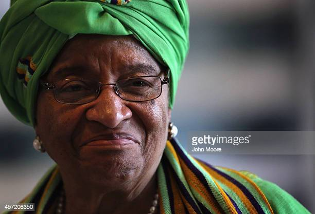 Liberian President Ellen Johnson Sirleaf attends a press conference on October 14 2014 in Monrovia Liberia She met with Norwegian Foreign Minister...