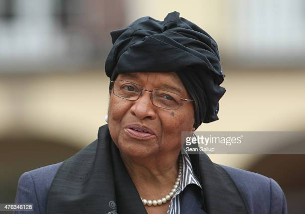 Liberian President Ellen Johnson Sirleaf attends the second day of the summit of G7 nations at Schloss Elmau on June 8 2015 near...
