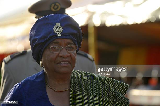 Liberian President Ellen Johnson Sirleaf attends the World Festival of Black Arts and Culture in Dakar on December 14 2010 held at the Monument of...