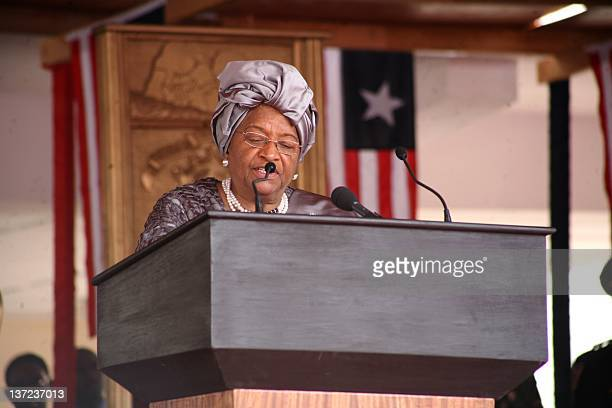 Liberian President Ellen Johnson Sirleaf delivers on January 16 2012 her inagural address in Monrovia after being sworn in as president for a second...