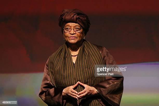 Liberian President Ellen Johnson Sirleaf joins former Secretary of State Hillary Rodham Clinton and Clinton Foundation Vice Chair Chelsea Clinton for...