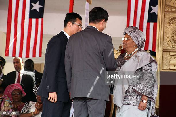 Liberian President Ellen Johnson Sirleaf meets Chinese delegation on January 16 2012 during her inagural address in Monrovia after being sworn in as...