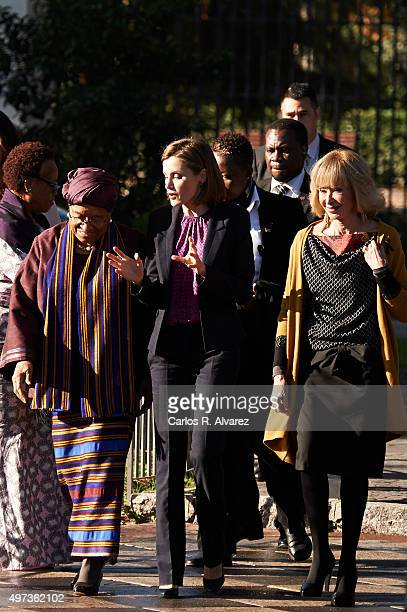Liberian President Ellen Johnson Sirleaf Queen Letizia of Spain and Mujeres Por Africa Foundation President Maria Teresa Fernandez de la Vega attend...