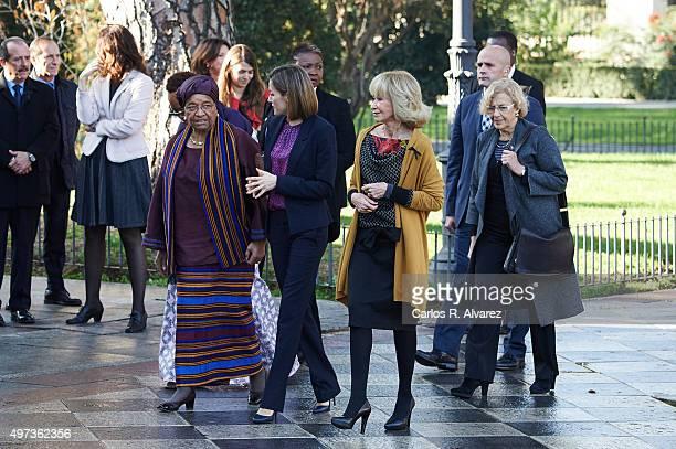 Liberian President Ellen Johnson Sirleaf Queen Letizia of Spain Mujeres Por Africa Foundation President Maria Teresa Fernandez de la Vega and Madrid...