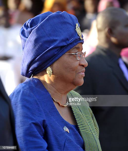 Liberian President Ellen Johnson Sirleafe attends the World Festival of Black Arts and Culture in Dakar on December 14 2010 held at the Monument of...