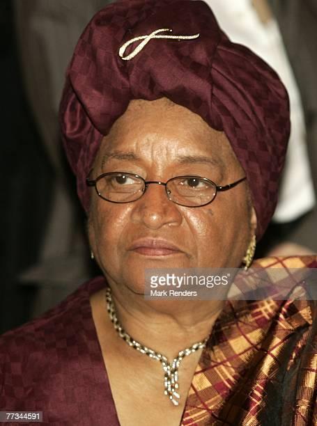 Liberian President Ellen JohnsonSirleaf attends the Belgium World Diamond Center Gala October 15 2007 in Antwerp Belgium
