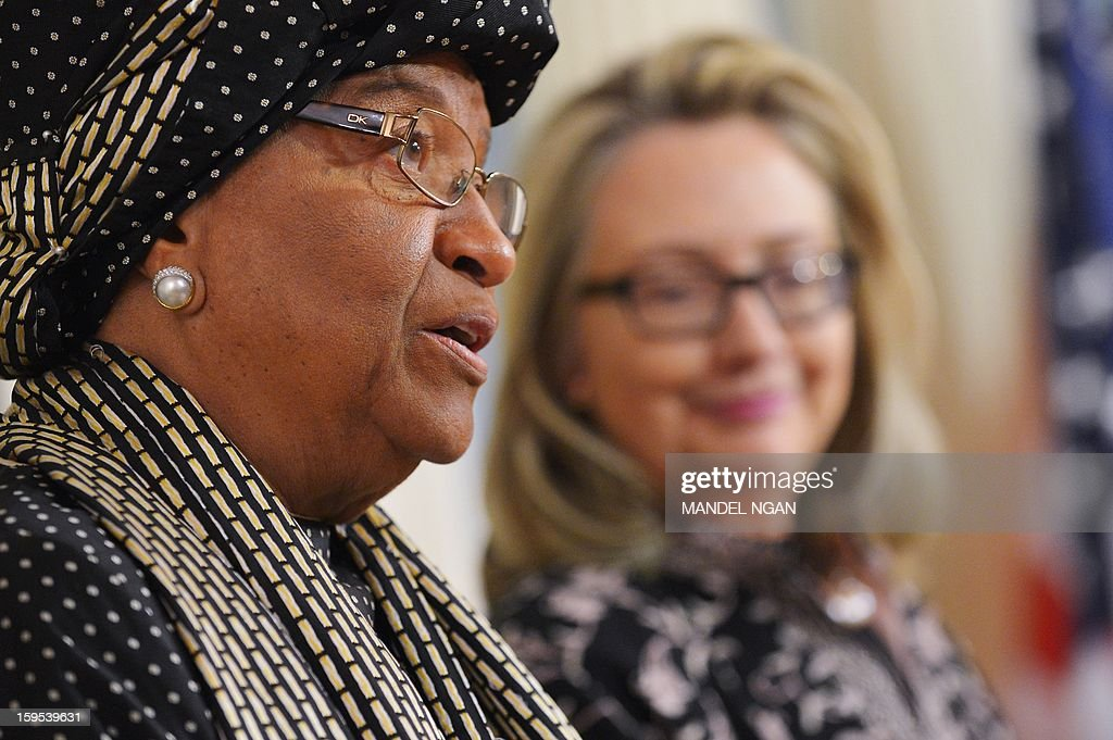 Liberian President Ellen Sirleaf Johnson speaks to the press following a bilateral meeting with US Secretary of State Hillary Clinton (R) on January 15, 2013 at the State Department in Washington, DC. AFP PHOTO/Mandel NGAN
