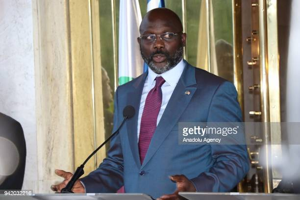 Liberian President George Weah makes a speech during a joint press conference with President of Ivory Coast Alassane Ouattara in Abidjan, Ivory Coast...