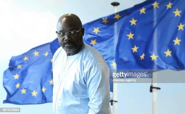 Liberian President George Weah meets with European Commission Chief Jean-Claude Juncker during his visit in Brussels, Belgium on June 05, 2018.