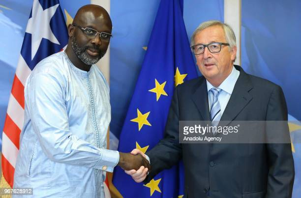 Liberian President George Weah meets with European Commission Chief JeanClaude Juncker during his visit in Brussels Belgium on June 05 2018