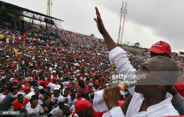 Liberian presidential candidate Alexander Cummings delivers a speech during a campaign rally in Monrovia on October 7 three days ahead of the...