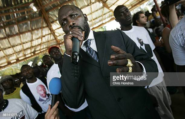 Liberian presidential contender George Weah speaks to supporters November 11, 2005 in Monrovia, Liberia. Supporters of ex-international soccer star...