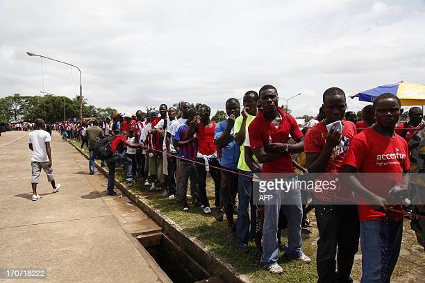 Liberian soccer fans in line to watch crucial Brazil FIFA 2014 qualifier game between Liberian and Senegal on June 16 2013 at Samuel K Doe Sports...