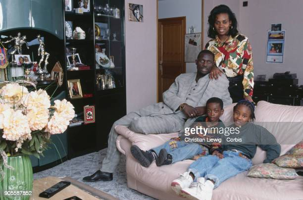 Liberian Soccer Player George Weah his wife Clar and his children George Jr and Martha