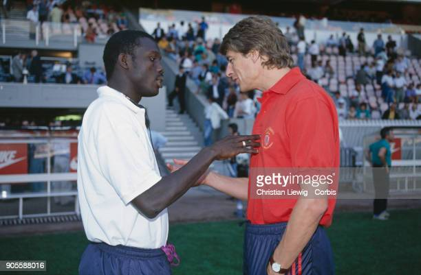 Liberian Soccer Player George Weah with coach Arsene Wenger PSG Season 92/93
