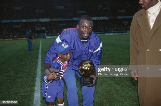 Liberian Soccer Player George Weah with his son George Jr PSG/Nantes France Championship 94/95