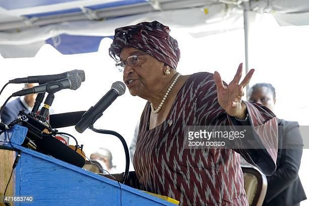 Liberia's President Ellen Sirleaf Johnson delivers a speech in the US treatment unit for Liberian healthcare workers infected with Ebola during the...