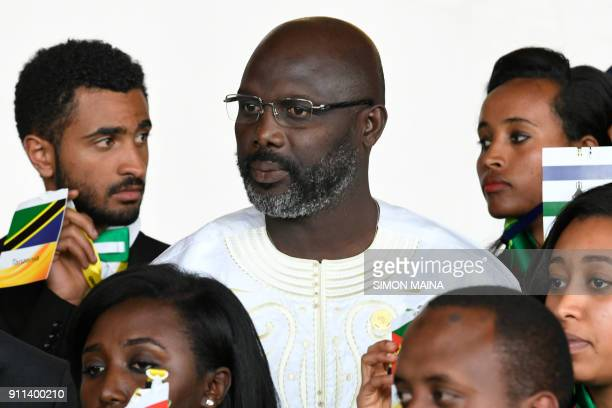 Liberia's President George Weah looks on during a family photo at the opening of the Ordinary Session of the Assembly of Heads of State and...