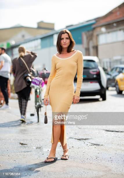 Liberta Haxhikadriu seen wearing beige dress outside Baum und Pferdgarten during Copenhagen Fashion Week Spring/Summer 2020 on August 08 2019 in...