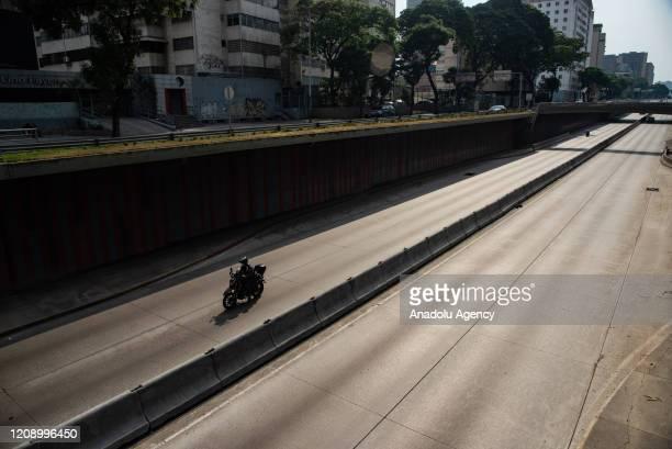 Libertador Avenue is seen empty as a preventive measure against the new type of coronavirus pandemic in Caracas Venezuela on April 02 2020