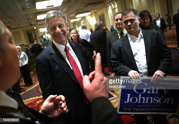 Libertarian Party candidate Gary Johnson greets supporters prior to a debate hosted by the Free and Equal Elections Foundation and moderated by...