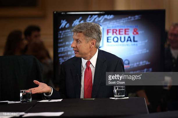 Libertarian Party candidate Gary Johnson is interviewed prior to a debate hosted by the Free and Equal Elections Foundation and moderated by former...