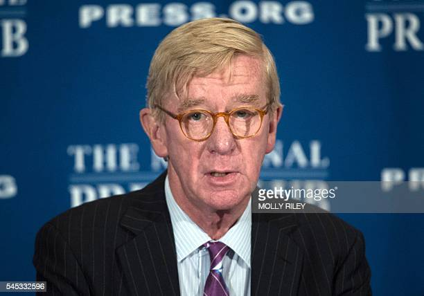 Libertarian Party vice presidential candidate William Weld speaks at a National Press Club Luncheon on July 7 in Washington DC / AFP / MOLLY RILEY