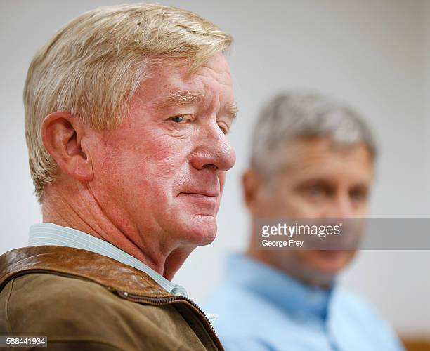Libertarian presidential candidate Gary Johnson and his running mate Bill Weld talk to the press before a rally on August 6 2015 in Salt Lake City...
