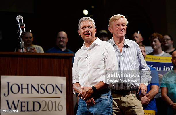 Libertarian Presidential Candidate Gary Johnson and his running mate Bill Weld at the Gendron Franco Center in Lewiston Friday, August 26, 2016.