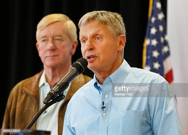 Libertarian presidential candidate Gary Johnson and running mate, Bill Weld , talks to a crowd of supporters at a rally on August 6, 2015 in Salt...