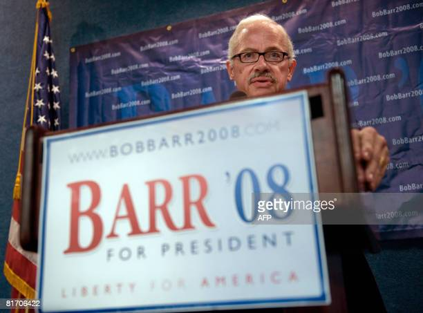US Libertarian presidential hopeful Bob Barr speaks about recent Supreme Court decisions at the National Press Club in Washington on June 25 2008...