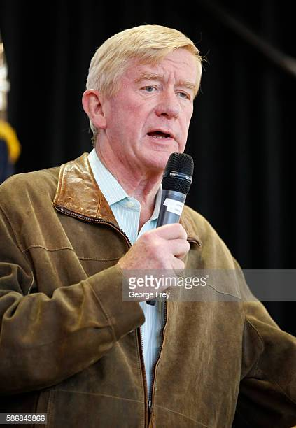 Libertarian vice presidential candidate Bill Weld talks to a crowd of supporters at a rally on August 6 2015 in Salt Lake City Utah Johnson has spent...