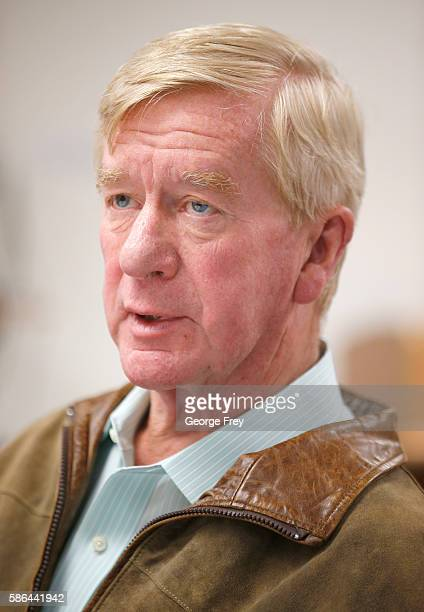 Libertarian vice presidential candidate Bill Weld talks to the press before a rally on August 6 2015 in Salt Lake City Utah Gary Johnson and Weld...
