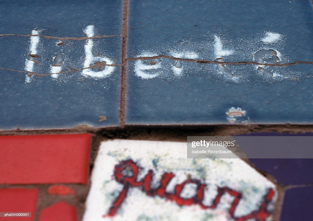 Liberte, French word meaning freedom, written on tiles, close-up : Stockfoto